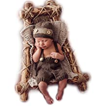 Fatto a mano Infant Newborn Baby Girl Boy Crochet Knit Cappello Hose Fotografia Puntelli Outfits costume