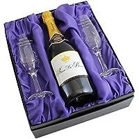 Una Bella coppia di flute da champagne in vetro cristallo, con messaggio, con incisione personalizzata e scatola regalo 750ml Bottiglia di alta qualità In Seta foderato