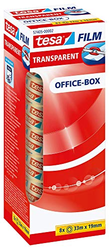 tesafilm Klebeband, transparent, Office-Box mit 8 Rollen, 33m x 19mm