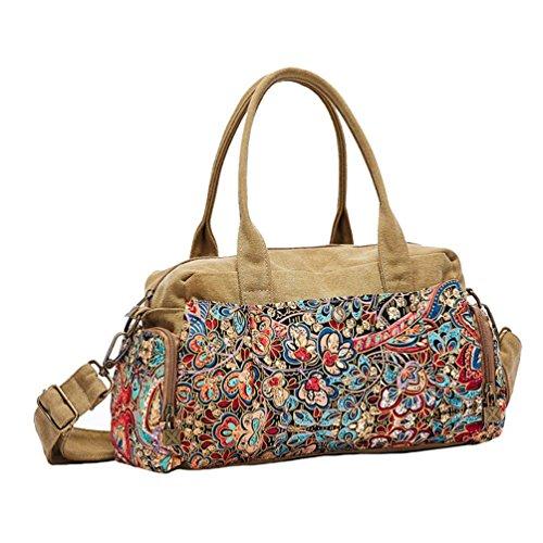 Chang Spent borsa a tracolla delle donne casuale retrò borsa di tela borsa Messenger bag , a a