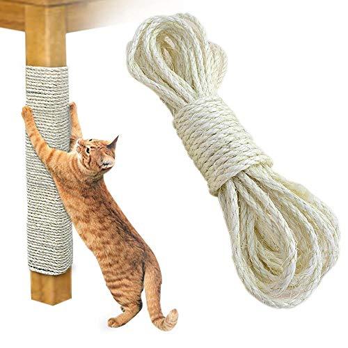 Lesgos Sisalseil für Katzen, 20 Meter Natürliches Sisalseil für Kratzbäume, Hanfseil zum Reparieren, Wiederherstellen oder Heimwerken, 6mm Durchmesser, ohne Chemikalien und Öle