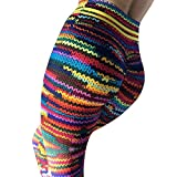 Shujin Damen Strick Sport Hose Bunt Skinny Hüfthose Push up Strumpfhose Leggings Hohe Taille Yoga Hose