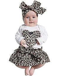b5e14074917a23 Culater® 2018 Nuove Neonate 3PCS Summer Heart Romper Tops + Leopard Skirt +  Fascia Outfit