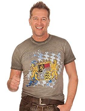 Trachten Herren Shirt - BAYERN - oliv, Größe XS