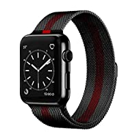 Compatible with Apple Watch 42mm/44mm, Stainless Steel Milanese Loop Magnetic Band Compatible with Iwatch Series 4/3/2/1 (Black Red)