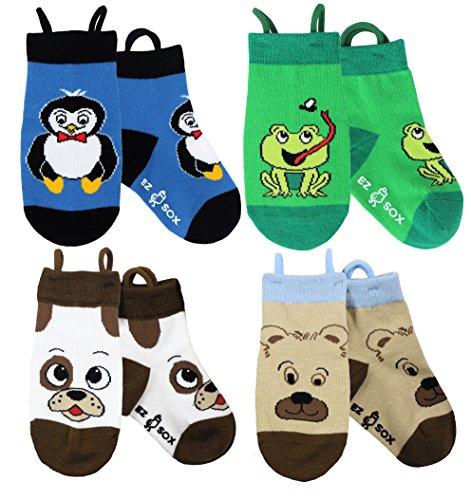 Calcetines de los niños animales con el dedo del pie sin fisuras, 5-9 yr, Dog/Bear/Penguin/Frog