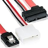 Slimline S-ATA 13-Pin Kombo (7+6) | 2Pin IDE Molex + 7-Pin Datenkabel | 45 cm | SATA 7 + 6 Pol Buchse Serial ATA Lead Y-Adapter Strom Daten | / IDE für HDD/Festplatten mit 4Pin Molex IDE Stromkabel