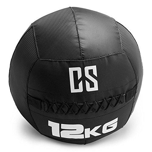 Capital Sports Bravor • Medizinball • Wall Ball • Fitness Ball • Krafttraining • Ausdauertraining • Functional Training • extrem griffige Oberfläche • Studio Qualität • schwarz • Gewicht: 12 kg (Twist Fitness-studio)