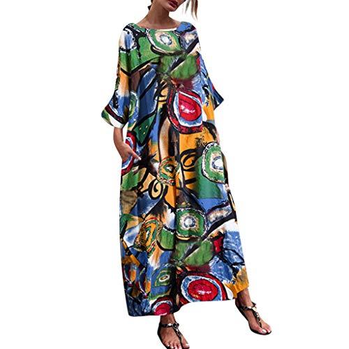 Zylione Damen Mode Böhmischen Fledermausärmel Baggy Frauen Maxi-Kleid mit Taschen Lange Kleid Kleider Sommerkleider Maxikleider Blumedrucken Kleid Strandkleid Rundhals High Waist Langarm Graffitidruck