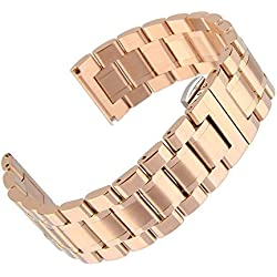 Beauty7 17mm Stainless Steel Bracelet Watch Band Strap Double Clasp Five Strains Curved End Solid Links Color Gold 7.08 Inches 18CM Women Ladies Girls Men Watch Accessary Jewelry