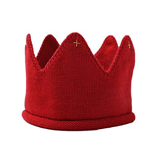 LUOEM Baby Krone Strickmütze Stoff Krone Stirnband Kopfschmuck für Geburtstag Party Karneval Fasching Hochzeit Dekor (rot)