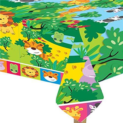 chen Babys Kleinkinder Tierfreunde Jungle Zoo Themen Geburtstag Party Feiern Dekorationen Geschirr Löwe Giraffe Hippo Crocodile Tiger (Tischtuch) ()