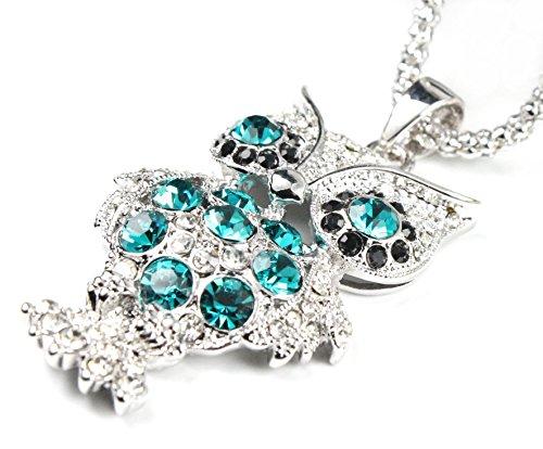 en Halskette mit Anhänger Eule (Farbe: weißgold/blau/schwarz) verziert mit funkelnden Kristallen von Swarovski® ()