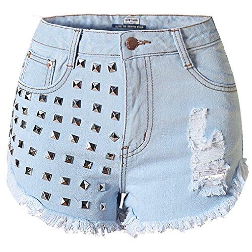Donne Moda Vita Alta Stretch Buchi Jeans Rivetti Cowboy Hot Pants LightBlue