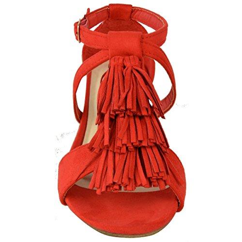 Neu Damen Kleiner Keilabsatz Troddel Knöchel Riemchen Holiday Sommer Sandalen Größe Rot Kunstwildleder