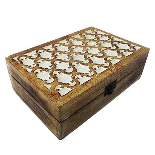 intagliato a mano scatola di legno in stile antico materiale decorativo tavolo marrone topper accessori Trinket grande contenitore di articolo da regalo di nozze tradizionale - Antico Di Trinket