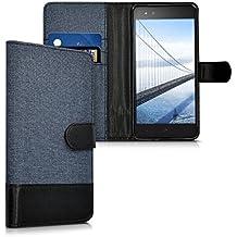 kwmobile Funda para bq Aquaris X5 Plus - Funda flip Wallet Case de tela con cuero sintético - Cover con tapa con tarjetero y soporte azul oscuro negro