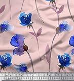 Soimoi Rosa Satin Seide Stoff Blätter & Sweetpea Blume