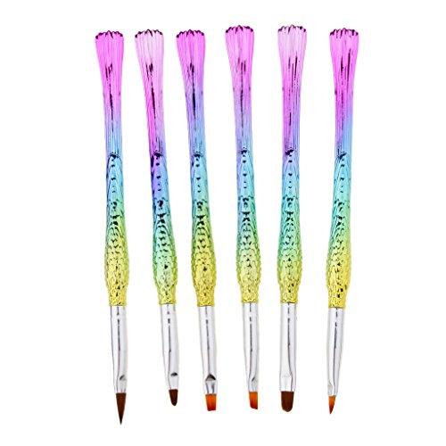 Fenteer 6 Pièce Différents Styles Pinceaux à Ongles Forme en Queue de Sirène Stylos Dotting Tools pour Nail Art Couleur Arc-en-ciel