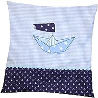 Kissen hellblau 35 x 35 cm Boot mit Namen und Innenkissen