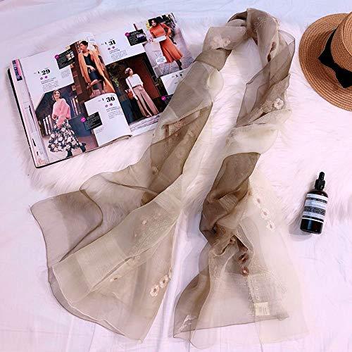 Chengfang Damen Seidenschal 100% Seidenblume bestickter Schal Sonnencreme Strandtuch lang Wilder Schal, eine Vielzahl von Farben erhältlich, 70 * 180 cm,CSWJ-05 -