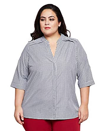 9608276c303bc7 oxolloxo Plus Size Women V Neck Off White Striped Top Long Sleeves ...
