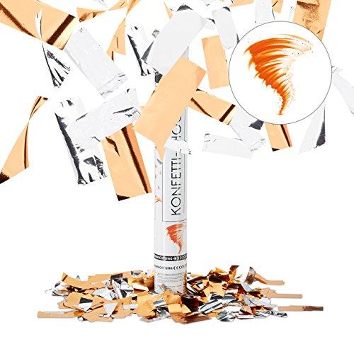 Relaxdays Party Popper 40 cm Orange, bis 8 m Effekthöhe, Hochzeit Geburtstag, Karneval, Konfettiregen, orange-silber