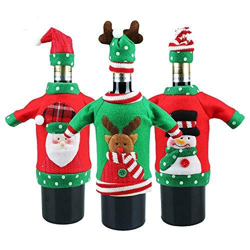 Decorazioni di Bottiglie perfette per Tavolo di Natale Rosso Sacchetti di Bottiglia di Vino di Natale 3 Pezzi Copribottiglie di Vino