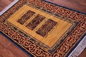 Jaune doré en soie Bleu Style Elégant tapis-Terracotta-Petit Tapis souple 85 x 150 cm
