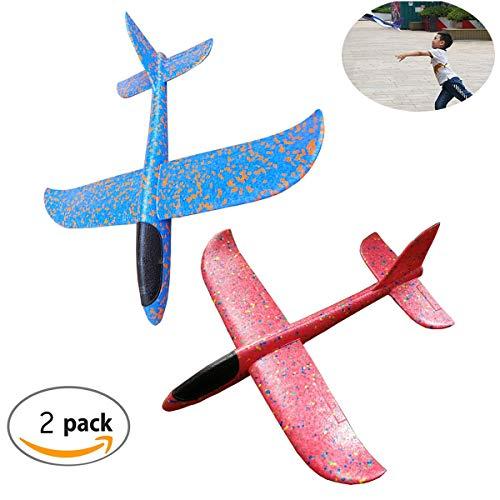 Tangger Aeromodello aliante per Bambini, 2 Pezzi aliante velivoli aliante Manuale all'aperto Lancio aliante Giocattolo per Bambini Compleanno,Giochi,premi(Blu e Rosa)