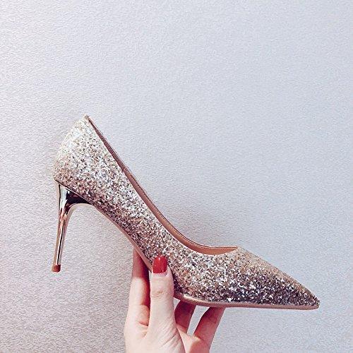 Xue Qiqi Court Schuhe Silberne Brautschuhe, die Schuhe der Frauen beschuhen, beschuht einzelne Schuhe weibliche Spitze Stöckelschuhe mit Geldstrafe, 39, hell goldenes 8CM