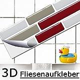 5er Set 27,9 x 4,3 cm Fliesenaufkleber rot taupe weiß Ziegel I 3D selbstklebend Fliesen Küche Bad Wandaufkleber Fliesendekor Folie Grandora W5418