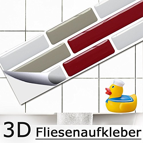 5er set 27,9 x 4,3 cm grandora mosaico 3d adesivo per piastrle w5418 autoadesivo cucina bagno adesivo da muro decorazione piastrelle pellicola rosso grigio talpa bianco mattone