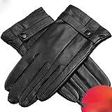 gloves Lederhandschuhe, Herren Winter Plus SAMT Warme Motorrad Touchscreen Reiten Verdickung Fahren Wasserdichte Regenhandschuhe,schwarz,XL