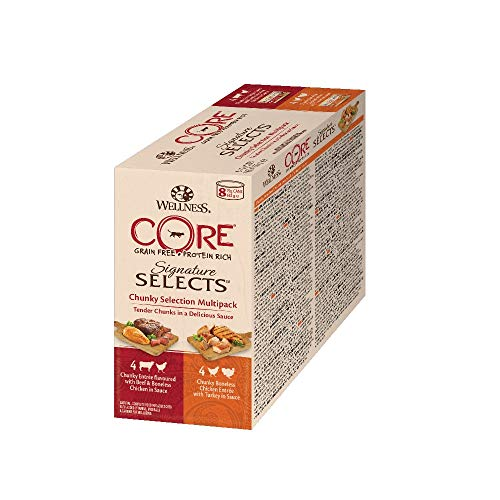 Wellness CORE Katze Signature Selects Getreidefreies Nassfutter Chunky Selection Mix, 8 x 79 g Dosen
