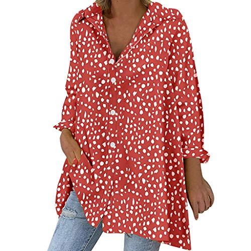NnuoeN 2019 Nuove Camicie da Donna Allentate con Bottoni in Cotone e Lino a Pois in Cotone Cardigan Camicie Camicie Top Tunica Camicetta