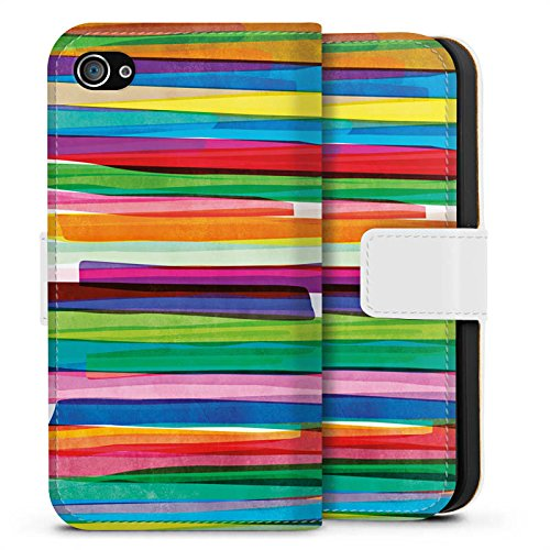 Apple iPhone 7 Tasche Hülle Flip Case Streifen Wasserfarbe Bunt Sideflip Tasche weiß