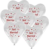 10 Herzballons Hochzeit WEIß mit Aufdruck
