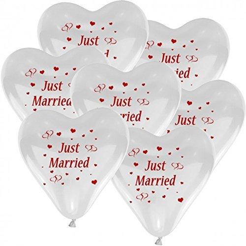 """10 Herzballons Hochzeit WEIß mit Aufdruck """"Just Married"""" - Luftballons zur Hochzeit - Helium geeignete Ballons zum Luftballon steigen lassen + Gratis Geschenkkarte"""
