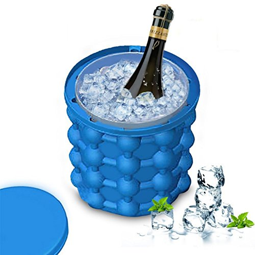 Addfun Eiswürfelbereiter,Genie Silikon Eiswürfelform Eis Eimer Runder Eiswürfelbereiter Platzsparend Eis Genie Küchenwerkzeuge mit Deckel für Zuhause Party Reise Cocktails Bier Whiskey