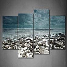 Azul mar Wave se lavable hasta Sandbeach pared arte pintura la imagen impresión sobre lienzo imágenes de paisaje para decoración del hogar decoración regalo