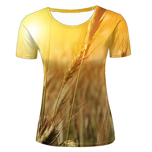 Womens T-Shirts Fashion 3D Printed Mature Golden Wheat Spike Graphic Short Sleeve Casual Couple Tees XL (Spike Bulk)