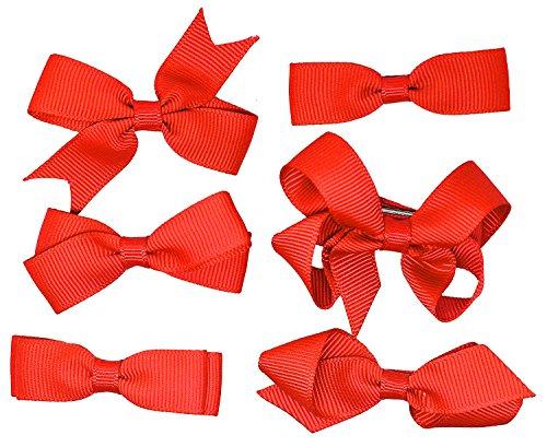 Ensemble de 6 de l'école Pince à cheveux Rouge Filles Enfants Petits Noeuds ruban gros grain uniforme.
