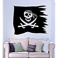 GGWW Wall Stickers Vinyl Decal Pirate Flag Jolly Roger Skull Sword (Ig1312)