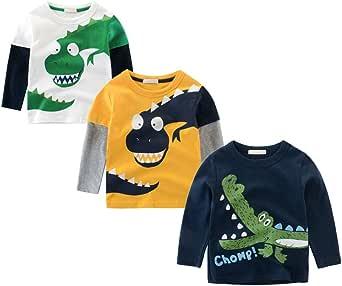 BOBORA T-Shirt Garçon, Pull-Over T-Shirts à Manches Longues Dinosaures en Coton Blouson pour Bébé Filles Garçons Enfants 1-10Ans