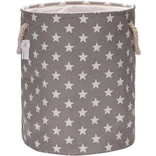 """Equipo de mar 19.7""""tamaño grande lona de elegante diseño de estrellas y lino tela para ropa sucia cesta de almacenamiento con asas de cuerda, color gris"""