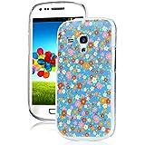 Nextmall Samsung Galaxy S3 Mini i8190 Slim Fit Dura Funda Carcasa Case Cover - Flores de Colores (Azul)