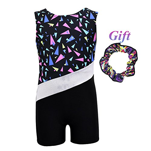 Hougood Turnanzug Mädchen Gymnastik Leotards Tanzen Ballett Bodysuit Gedruckt Ärmellos Flachen Winkel Overall Kinder Fancy Dance Kostüme Stretch Leotards Alter 3-10 ()