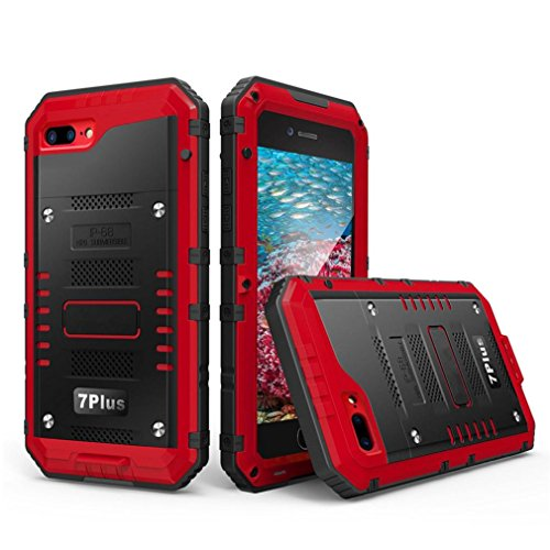 Culater® Case Cover pellicola metallica IP68 alluminio vetro sommergibile per Iphone 7 Plus 5.5inch (rosso)