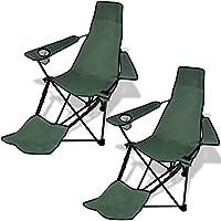 Set 2 pz Sedia pieghevole da campeggio con poggiapiedi verde scuro
